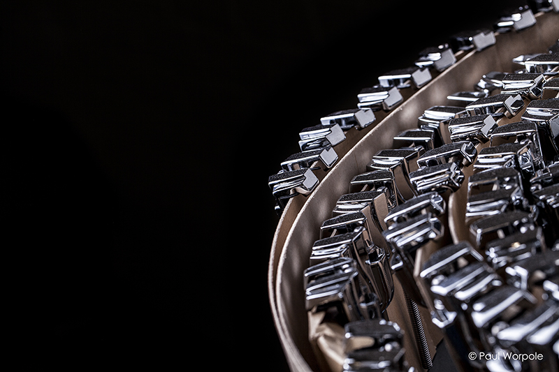 Close up shot of Chrome Lugs from British Drum Co © Paul Worpole Photography