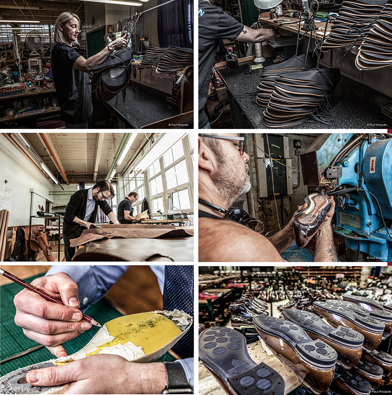 Six images of people working in shoe factory Northampton 10 Essential photographs that every company should have in their portfolio. © Paul Worpole Photography