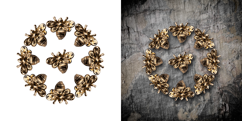 Two photographes of gold bee jewellery in comparison 10 Essential photographs that every company should have in their portfolio. © Paul Worpole Photography