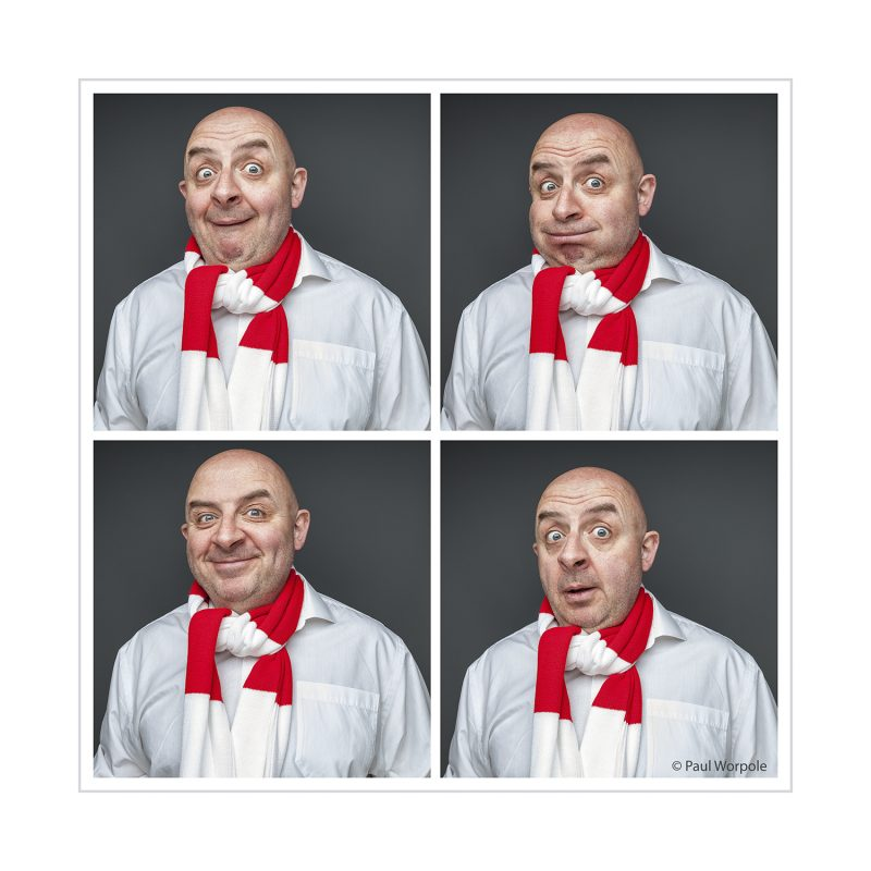 Actor Headshots - four portraits of bald man wearing red and white scarfe © Paul Worpole Photography