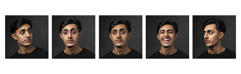 10 Essential photographs that every company should have in their portfolio. Five portraits of a man with different expressions © Paul Worpole Photography